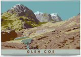 Glen Coe: the Three Sisters and the Old Road – magnet - blue - Indy Prints by Stewart Bremner