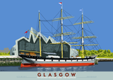 Glasgow: Riverside Museum and the Glenlee – poster - natural - Indy Prints by Stewart Bremner