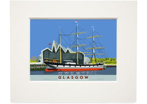 Glasgow: Riverside Museum and the Glenlee – small mounted print