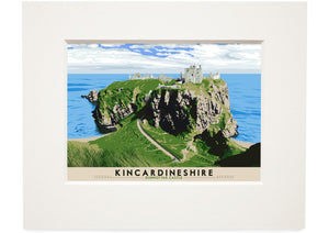 Kincardineshire: Dunnottar Castle – small mounted print