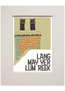 Lang may yer lum reek – roof – small mounted print - Indy Prints by Stewart Bremner