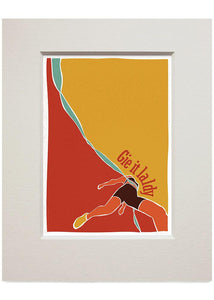 Gie it laldy – runner – small mounted print - Indy Prints by Stewart Bremner