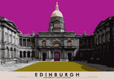 Edinburgh: University Old College – poster - pink - Indy Prints by Stewart Bremner