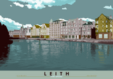 Leith: The Shore – poster - teal - Indy Prints by Stewart Bremner