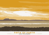 Firth of Forth: Sunset Over Edinburgh – poster - yellow - Indy Prints by Stewart Bremner