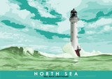 North Sea: Bell Rock Lighthouse – giclée print - turquoise - Indy Prints by Stewart Bremner