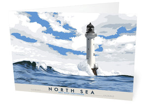 North Sea: Bell Rock Lighthouse – card - Indy Prints by Stewart Bremner