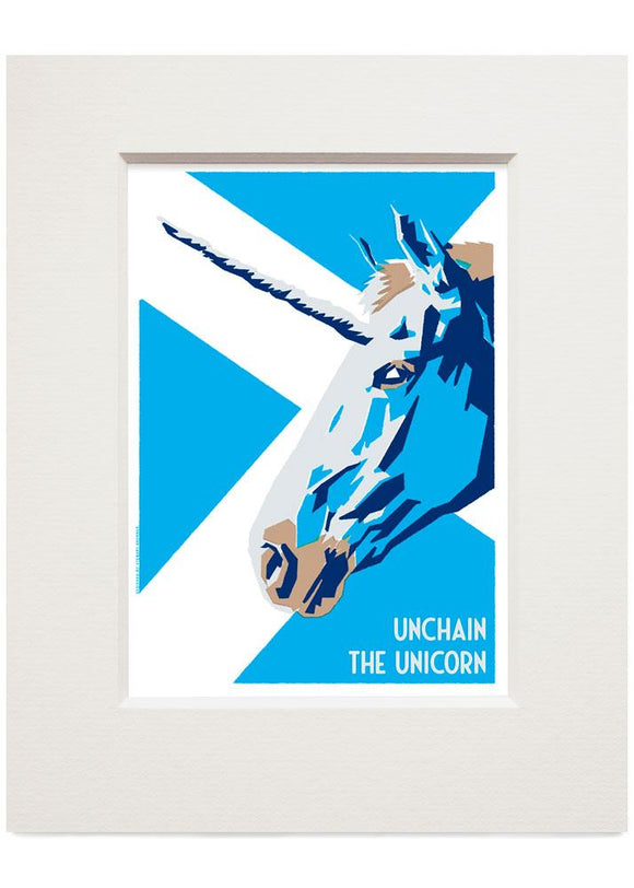 Unchain the unicorn – small mounted print - Indy Prints by Stewart Bremner