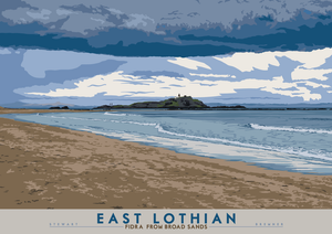 East Lothian: Fidra From Broad Sands – giclée print - Indy Prints by Stewart Bremner