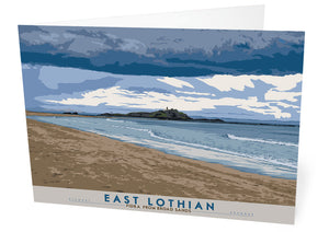 East Lothian: Fidra From Broad Sands – card - Indy Prints by Stewart Bremner