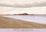 East Lothian: Fidra From Broad Sands – giclée print - violet - Indy Prints by Stewart Bremner
