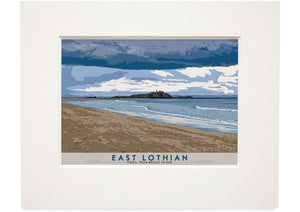 East Lothian: Fidra From Broad Sands – small mounted print