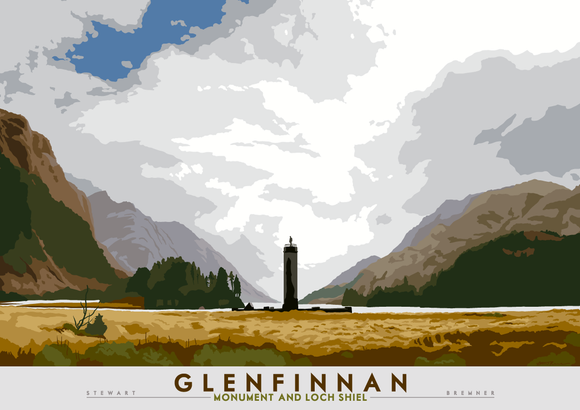 Glenfinnan: Monument and Loch Shiel – poster - natural - Indy Prints by Stewart Bremner