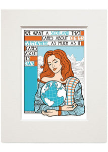 We want a Scotland that cares – small mounted print - Indy Prints by Stewart Bremner