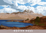 Wester Ross: Loch Maree and Slioch – poster - natural - Indy Prints by Stewart Bremner
