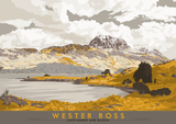 Wester Ross: Loch Maree and Slioch – poster - yellow - Indy Prints by Stewart Bremner
