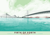 Firth of Forth: The Three Bridges – poster - turquoise - Indy Prints by Stewart Bremner