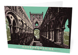 Roxburghshire: Jedburgh Abbey – card - green - Indy Prints by Stewart Bremner