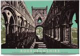 Roxburghshire: Jedburgh Abbey – magnet - green - Indy Prints by Stewart Bremner