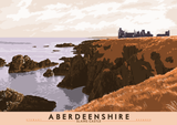 Aberdeenshire: Slains Castle – poster - orange - Indy Prints by Stewart Bremner