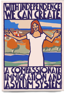 Compassionate immigration and asylum – magnet - Indy Prints by Stewart Bremner
