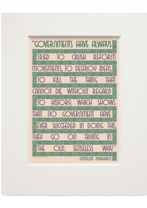 Governments try to crush… – Emmeline Pankhurst – card – small mounted print - Indy Prints by Stewart Bremner