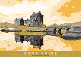 Ross-shire: Eilean Donan Castle – poster - yellow - Indy Prints by Stewart Bremner