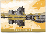 Ross-shire: Eilean Donan Castle – magnet - yellow - Indy Prints by Stewart Bremner