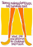 Skinny malinky long legs, big bananae feet – giclée print - yellow - Indy Prints by Stewart Bremner