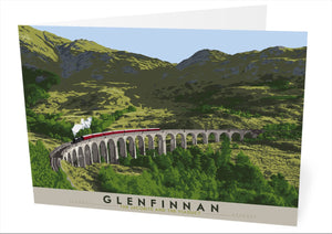 Glenfinnan: The Jacobite and The Viaduct – card - Indy Prints by Stewart Bremner