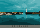 Edinburgh: Newhaven Harbour – poster - turquoise - Indy Prints by Stewart Bremner