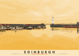 Edinburgh: Newhaven Harbour – giclée print - yellow - Indy Prints by Stewart Bremner