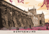 Dunfermline: Abbey – poster - red - Indy Prints by Stewart Bremner