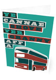 Ye cannae shove yer granny aff a bus – card - maroon - Indy Prints by Stewart Bremner