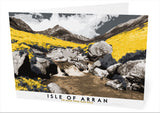 Isle of Arran: Cìr Mhòr from Glen Rosa – card - yellow - Indy Prints by Stewart Bremner
