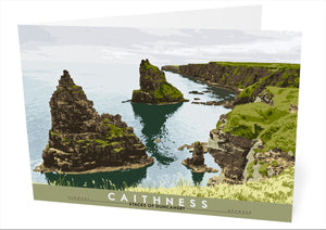 Caithness: Stacks of Duncansby – card - Indy Prints by Stewart Bremner