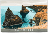 Caithness: Stacks of Duncansby – magnet - turquoise - Indy Prints by Stewart Bremner