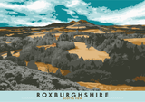 Roxburghshire: Scott's View – poster - orange - Indy Prints by Stewart Bremner