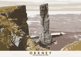 Orkney: The Old Man of Hoy – poster - grey - Indy Prints by Stewart Bremner