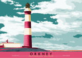 Orkney: North Ronaldsay Lighthouse – poster - red - Indy Prints by Stewart Bremner