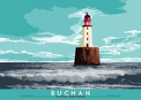 Buchan: Rattray Lighthouse – poster - turquoise - Indy Prints by Stewart Bremner