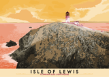 Isle of Lewis: Flannan Isles Lighthouse – giclée print - orange - Indy Prints by Stewart Bremner