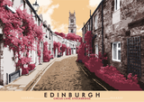 Edinburgh: Circus Lane, Stockbridge – giclée print - red - Indy Prints by Stewart Bremner