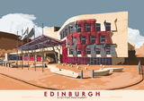 Edinburgh: Scottish Parliament – giclée print - orange - Indy Prints by Stewart Bremner