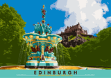 Edinburgh: Ross Fountain and the Castle – poster - natural - Indy Prints by Stewart Bremner