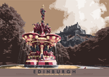 Edinburgh: Ross Fountain and the Castle – poster - brown - Indy Prints by Stewart Bremner