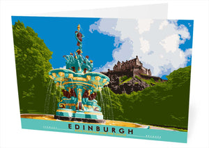 Edinburgh: Ross Fountain and the Castle – card - Indy Prints by Stewart Bremner