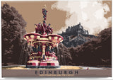 Edinburgh: Ross Fountain and the Castle – magnet - Indy Prints by Stewart Bremner