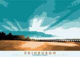 Edinburgh: Portobello Sunset – giclée print - turquoise - Indy Prints by Stewart Bremner
