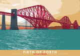 Firth of Forth: the Forth Bridge – giclée print - turquoise - Indy Prints by Stewart Bremner